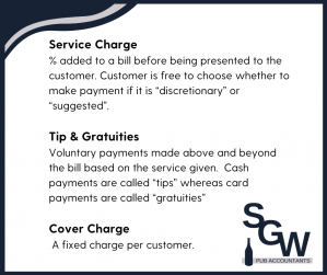 Definitions of Service Charges, Tips, Gratuities and Cover Charge